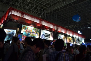 Square Enix booth and crowds.